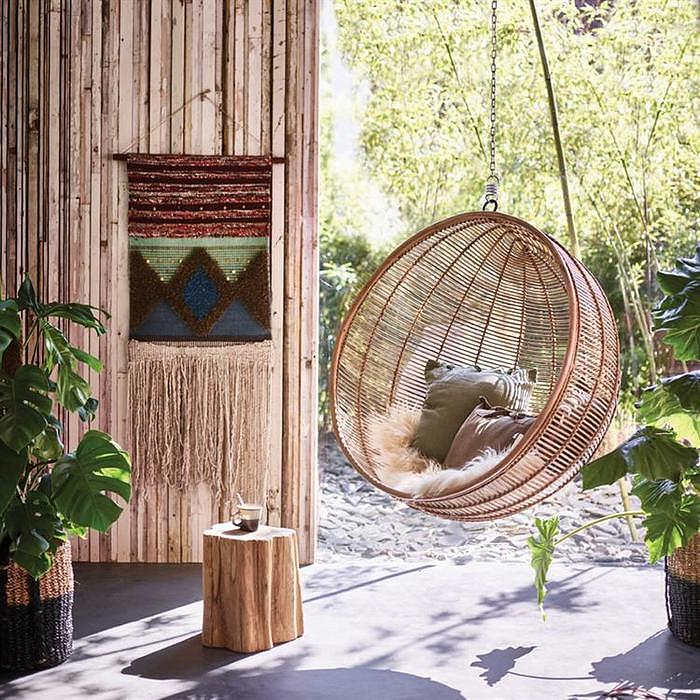 Rattan Hanging Bowl Chair, 499€, 108x108x83cm, HK Living